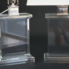 Pair of Restoration Hardware Crystal Cube Lamps
