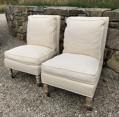 115-4803 Pair Yellow White Slipper Chairs IMG_1567