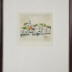 "Doris and Richard Beer Watercolor on Paper ""Old North Slip"""
