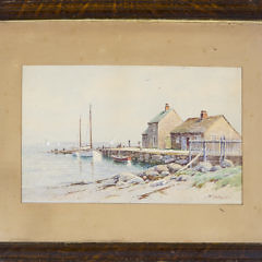 """William Paskell Watercolor on Paper """"Swains Wharf"""""""