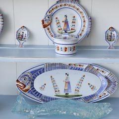 Henroit Quimper Ceramic Fish Set