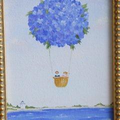 "Debbie Binnig Oil on Canvas ""Nantucket Basket Hot Air Balloon Ride"""