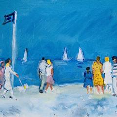 """Michel Legros Oil on Canvas """"Promenade Dans La Plage a Deauville"""""""