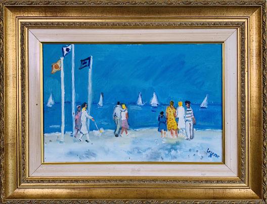 41367 Michel Legros Oil Promenade Le Plage A IMG_2350