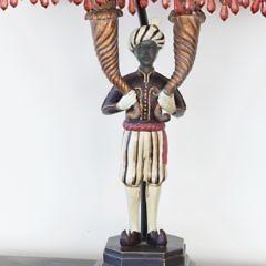 Pair of Composition Blackamoor Lamps,