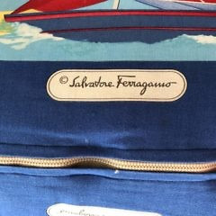 "Three Salvadore Ferragamo Printed Canvas ""Yacht"" Pillows"
