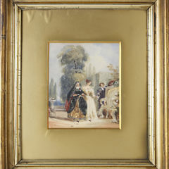 "English Watercolor on Paper ""Figures in a Garden"", circa 1863"