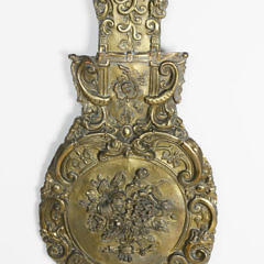 Scandinavian Brass Repoussé Clock Face and Pendulum, 19th Century