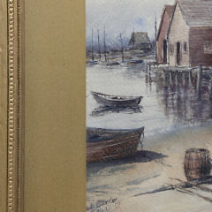 "James Francis Barker Watercolor on Paper ""North Wharf, Nantucket"""