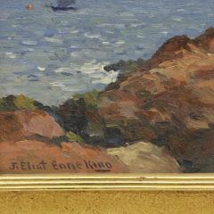 """Joseph Eliot Enneking Oil on Artist Board """"Sea and Rocks"""""""