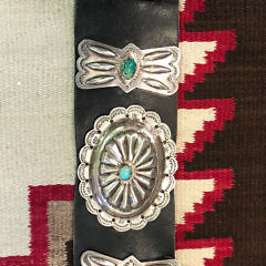 40542 Navajo Sterling Turquoise Concho Belt A IMG_3346