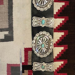 Vintage Large Navajo Sterling Silver and Turquoise Concho Belt