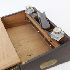Rosewood and Brass Inlaid Traveling Lap Box, circa 1840