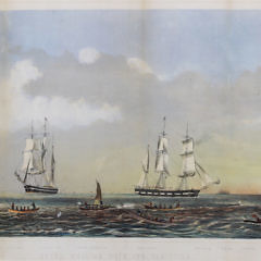 """Two Benjamin Russell Colored Lithographs on Paper """"Sperm Whaling and Its Varieties,"""" and """"Right Whaling in Behering Straits & Arctic Ocean with Its Varieties"""""""
