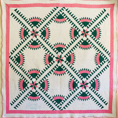 41183 Pink Green Geometric Quilt A