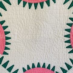 Pink and Green Geometric Patchwork Quilt with Pillow Topper, circa 1930s