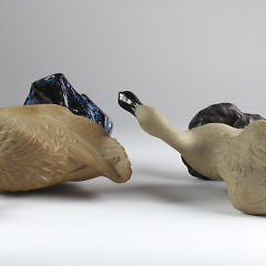 Two Chinese Partial Glazed Ceramic Ducks, circa 1900