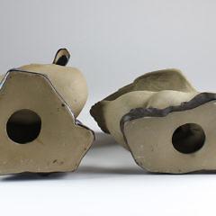 Two Chinese Partial Glazed Ceramic Ducks, circa 1900