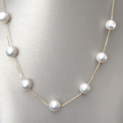 Fine 9mm White Akoya Pearl Tin Cup Necklace, 18k Yellow Gold Chain