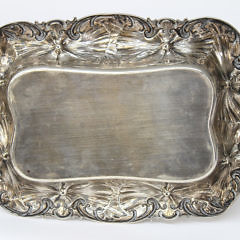 Whiting Sterling Silver Repoussé Deep Tray in the Hibiscus Pattern, circa 1920