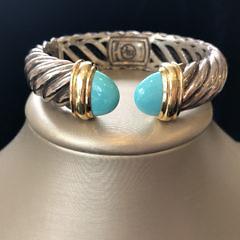 44-4419 David Yurman Cable Cuff Bracelet Turquoise A IMG_2854