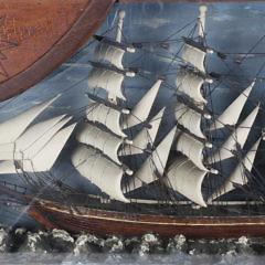 Folk Art Ship Shadowbox, circa 1950s