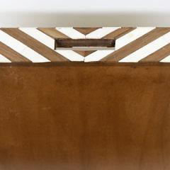 Contemporary Bone Mango Wood Geometric Inlaid Serving Tray