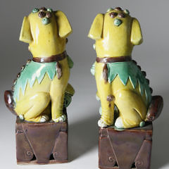 Pair Of Polychrome Underglaze Porcelain Male And Female Foo Dogs, 19th Century