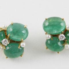Pair of Seaman Schepps 18k Yellow Gold Cabochon Emerald Earclips