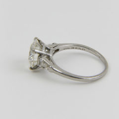 Vintage Old European Cut Diamond Platinum Ring Flanked by 2 Tapering Baguettes