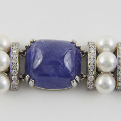 Seaman Schepps Tanzanite, Cultured Pearl and Diamond Bracelet Mounted in 18k White Gold