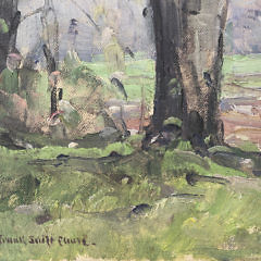 """Frank Swift Chase Oil on Canvas Board """"Wooded New England Landscape"""""""