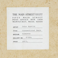 "John Austin Tempera on Board, ""Connecticut Barn"""