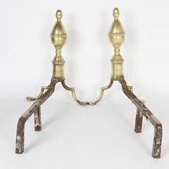 Pair of Brass and Iron Philadelphia Double Acorn Andirons, circa 1800