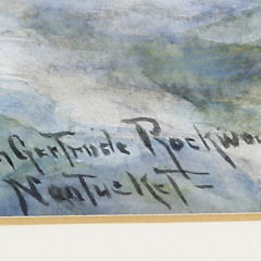 """Lillian Gertrude (Smith) Rockwood Watercolor and Gouache on Paper """"Three Masted Ships in High Seas"""""""