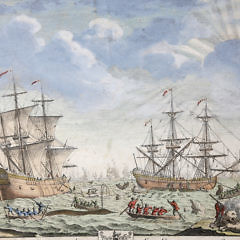 English Hand Colored Whaling Engraving, 18th Century