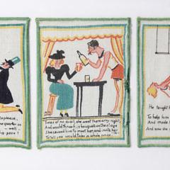 Six Framed Tony Sarg Napkins