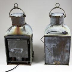 Pair Of English Royal Navy Copper And Brass Ship's Masthead Lanterns