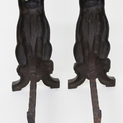 Pair of Cast Iron Seated Cat Andirons, late 19th Century