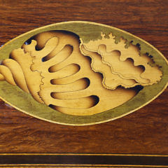 English Partridge Wood Double Satinwood Shell Inlaid Tea Caddy, 19th Century