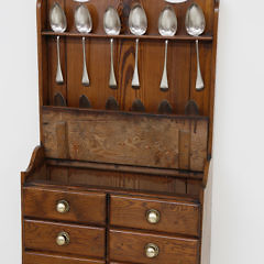 English Pitch Pine Hanging Spoon Rack Spice Chest