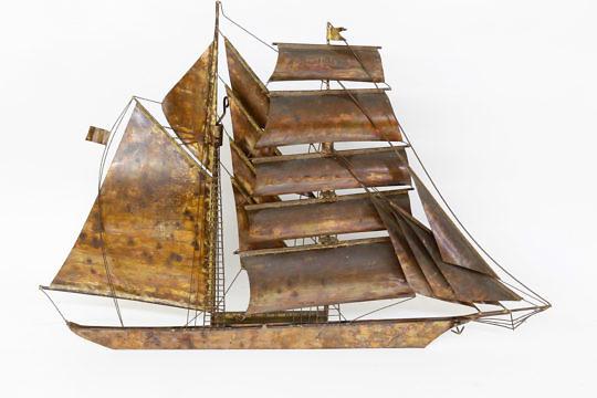 35-4147 Kurt Heise Copper Ship Sculpture A_9504