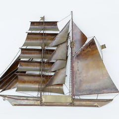 Kurt Heise Mid-Century Modern Copper and Brass Wall Sculpture of a Brigatine Two-Masted Ship