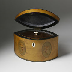 English Navette Form Tea Caddy, circa 1820
