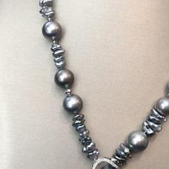 Fine 10mm – 15mm South Sea Tahitian and Keshi Pearl DiamondLariat Necklace