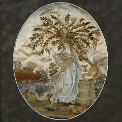 Oval Silk Embroidery of Woman in Wooded Landscape, early 19th Century