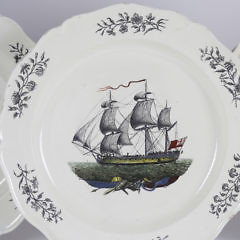 Set of Five English Pearlware Transferware Plates, early 19th Century