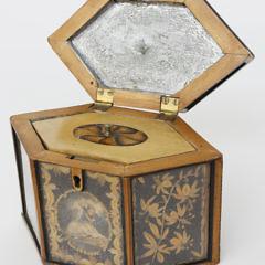 English Hexagonal Coiled Quillwork Tea Caddy, 18th Century