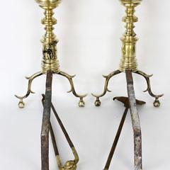 Pair of New York Multi-turned Brass Andirons, circa 1825