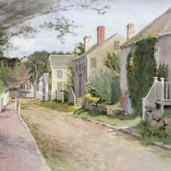 "Jane Brewster Reid Watercolor View ""Ash Lane, Nantucket"""